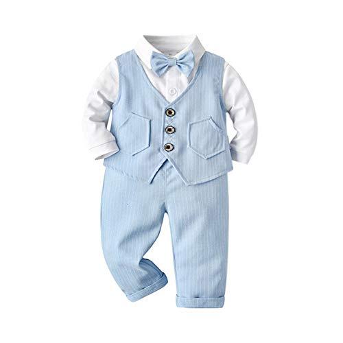 GHQYP Regalos para Bebes De 1 Año,Little Gentleman Outfits Conjuntos de 3 Piezas para 9-48 Meses,Blue,80(9-12Months)