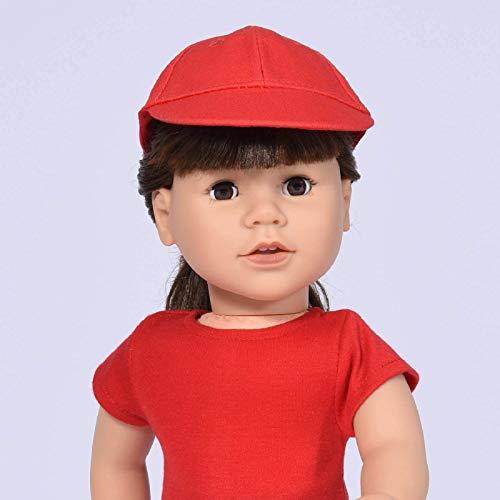 The New York Doll Collection - Roja Dom Proteger Deportes Gorra   Muñeca Ropa Tenis Gorra Encaja 18 pulgadas / 46 cm Niña Muñeca