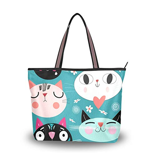 Light Weight Strap Cat Green Breakground Purse Shopping Shoulder Bags Handbags for Women Girls Ladies Student Tote Bag
