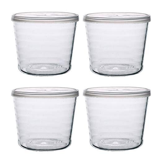 TAMUME Bicchiere Budino Set di 4 Tazze Dessert con Coperchio