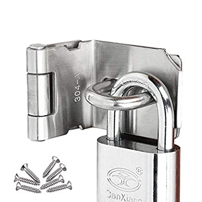 HLOMVE 3 Inch Door Hasp Latch Lock 90 Degree, Right Angle Clasp Hasp Lock for Padlock, Hasp Latch Lock for Gate, Stainless Steel Brushed Finish