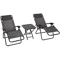 Outsunny Conjunto de 1 Mesa y 2 Tumbonas Set Exteriores Plegable y Portátil para Jardín Playa Relajante con Respaldo Reclinable Textilene Acero Gris