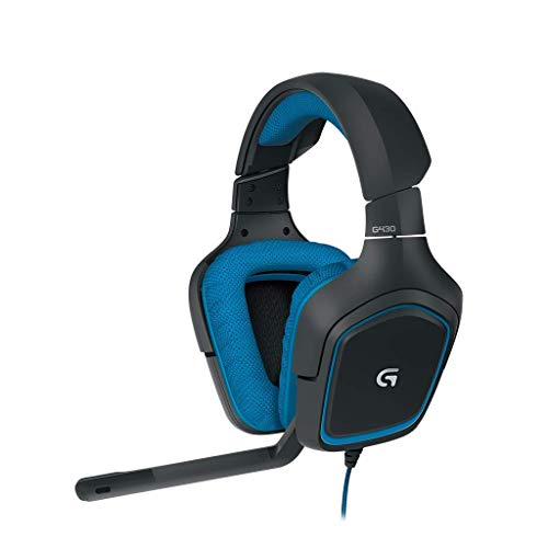 Logitech G430 Gaming-Headset, 7.1 Surround Sound, 40 mm Treiber, USB-Anschluss, Noise-Cancelling Mikrofon, Bedienelemente am Kabel, PC/Xbox One/Nintendo Switch - schwarz/blau