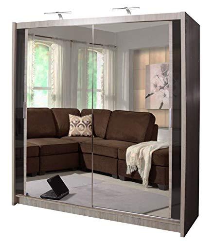 Armario de doble espejo con puerta corredera Chicago con luz LED 90/120/150/180/203 cm 203cm roble