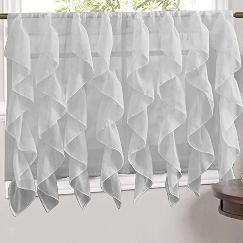 Sweet Home Collection Veritcal Kitchen Curtain Sheer Cascading Ruffle Waterfall Window Treatment - Choice of Valance, 24' or 36' Teir, and Kit, Tier Pair Only, Silver