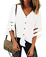 Womens Button Down V Neck Loose Mesh Panel Blouse 3/4 Bell Sleeve Loose Top Shirt Casual Shirts Blouses(L, White 1)