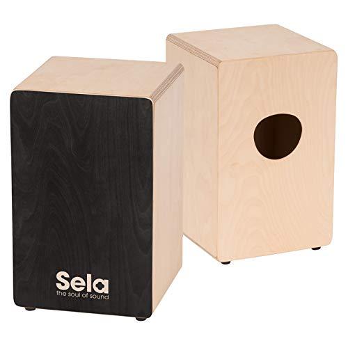 Sela SE 118 Primera Black - Cajon für Einsteiger und Fortgeschrittene - inkl. Sela Snare System, 12 mm Birkenkorpus, spielfertig aufgebaut, Made in Germany