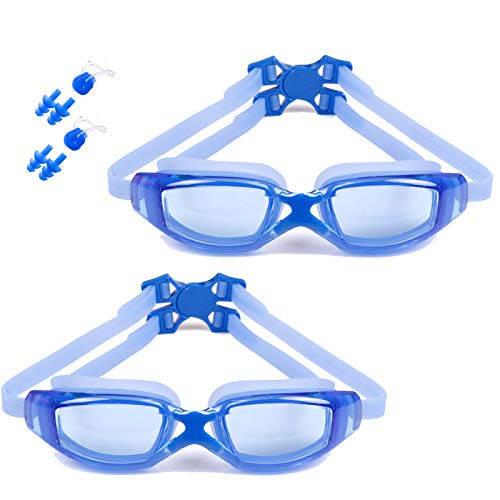 FDQNDXF Paquete de 2 Gafas de natación Impermeables antivaho, máscara de natación HD Unisex para Adultos con Tapones para los oídos, Clip Nasal, visión Clara, antirrayas,Azul