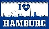 Fanshop Lünen Fahne - Flagge - Hamburg - Herz - Skyline - I Love - 90x150 cm - Hissfahne mit Ösen -