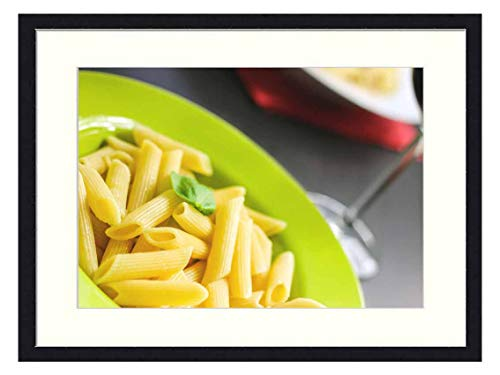 OiArt Wall Art Print Wood Framed Home Decor Picture Artwork(24x16 inch) - Rigatoni Pasta Noodles Food Meal Cuisine Cooked