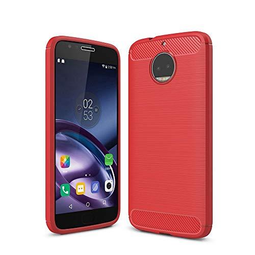 Capa para Motorola Moto G5s Plus capa traseira de fibra de carbono ultrafina TPU vermelho