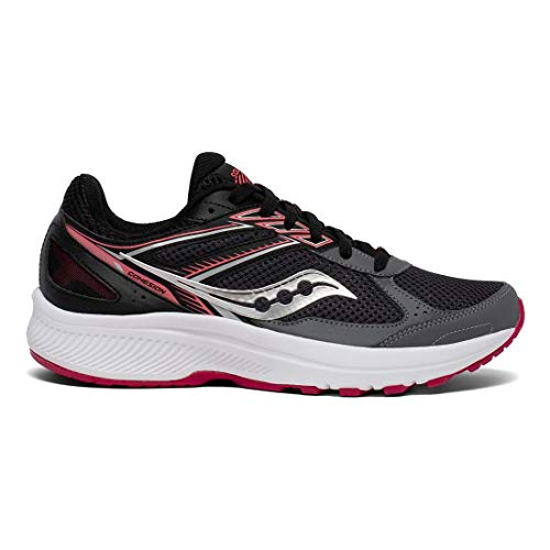 Saucony Women's Cohesion 14 Running Shoe, Charcoal/Coral, 8.5