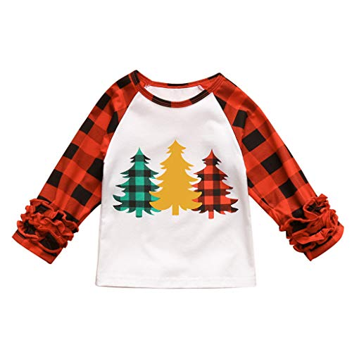 Fineday Blouse for Baby Girls Boys, Toddler Kids Baby Girls Boy Christmas Tree Cartoon Plaid Shirt Tops Tee Clothes, Tops for Girls (White 2-3 Years)