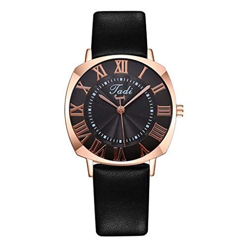 JZDH Relojes para Mujer Cinturón de Cuero Minimalista Minimalista para Mujer Reloj de Cuarzo para Mujer Color análogo Relojes Decorativos Casuales para Niñas Damas (Color : Rose)