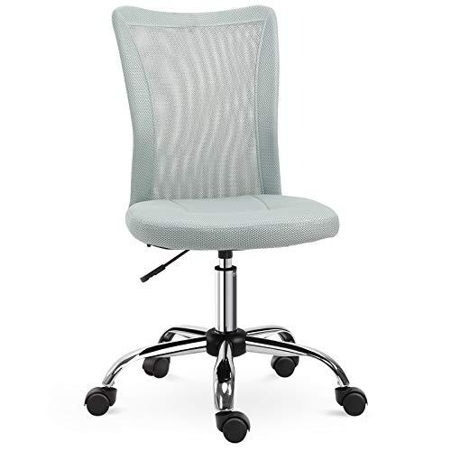 Chaise de bureau ergonomique hauteur réglable piètement chromé pivotant 360° revêtement maille gris