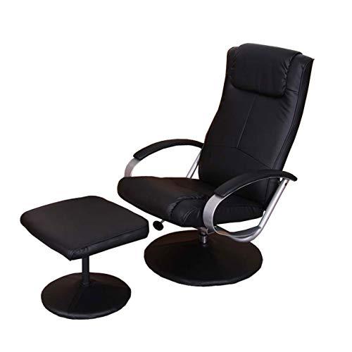 Mendler Relaxliege Relaxsessel Fernsehsessel N44 mit Hocker - schwarz