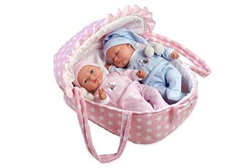 Ann Lauren Dolls 11 inch Twin Baby Doll in Carrier- Baby Dolls- Bassinet