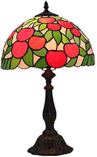AWCVB Tiffany Lámpara De Mesa De 12 Pulgadas Manzana Roja Cristal De...