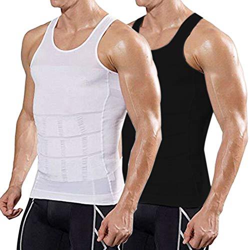 COOFANDY Men's 2 Pack Slimming Body Shaper Vest Compression Shirt Gym Workout Tank Top Sleeveless Abdomen Shapewear Black/White