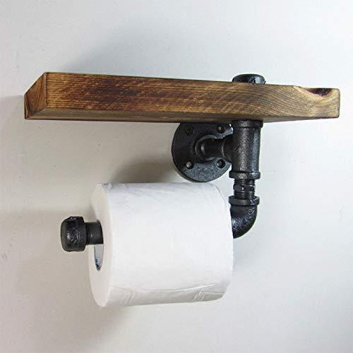 Queiting Toilettenpapierhalter Wand-Toilettenpapierhalter Ohne Perforierten Toilettenpapierhalter Mit Antikem Holzrahmen Und Gusseisenrohr Mit Trennwand