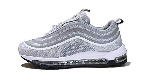 Mapleaf Frysen Herren Damen Sportschuhe Air Laufschuhe mit Luftpolster Turnschuhe Profilsohle Sneakers Leichte Schuhe hellgrau 38