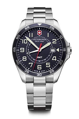 Victorinox FieldForce GMT Reloj Suizo para Hombre en Plata con Correa de Acero Inoxidable 241896