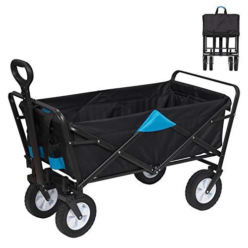 EUGAD Bollerwagen faltbar klappbar Transportkarre Handwagen mit 4 Rollen für Camping Einkaufen belastbar bis 80kg, Anthrazit und Türkis