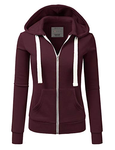 Doublju Lightweight Thin Zip-Up Hoodie Jacket for Women with Plus Size Maroon Large