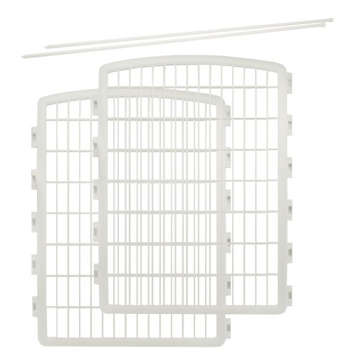 IRIS Exercise 2 Panel Add On Panel Pet Playpen with Door - 34 Inch, White
