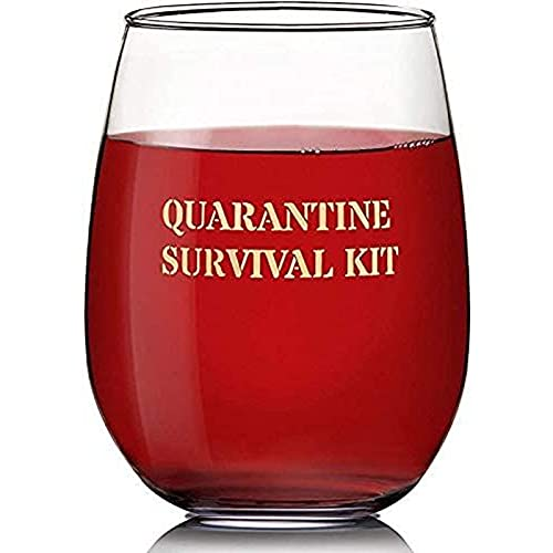 Stemless Wine Glass, Quarantine Survival Kit Novelty Gift (Approx. 16 Ounces)
