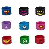 Superhero Slap Bracelet, Chelvee Slap Bracelet for Kids Boys & Girls Birthday Party Supplies Favors Wristband Accessories Wrist Strap (9 in pack)