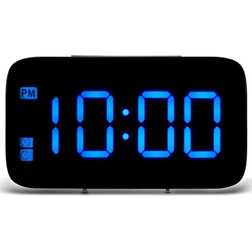 WQTT Digitale LED-wekker, LED-display Spraakbesturing Elektrische snooze-klok Nachtverlichting Desktop-tafelklokken USB-lading (Color : Blue)