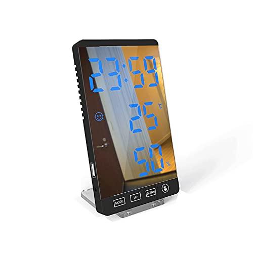 DWAC Reloj Telectricero con Reloj de 6 Pulgadas LED Relojes Telectriceros para Dormitorio, Untos de Botón de Bolsa de Viento Tiempo de Reloj Digital Temperatura Muestra de Humedad USB Tabla Reloj