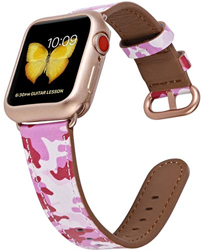 JSGJMY Compatible with Apple Watch Band 38mm 40mm with Case,Women Genuine Leather with Rose Gold Adapter and Buckle for iwatch Series 5/4/3/2/1, Pink Camouflage