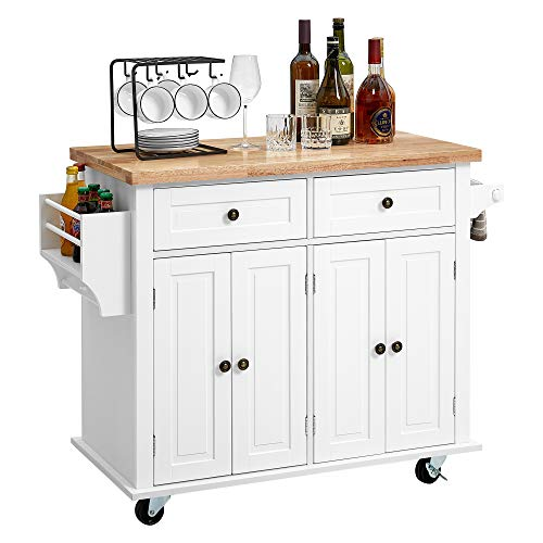 kealive Kitchen Island on Wheels, Rolling Kitchen Island Cart with Cabinet and Lockable Castors, 2 Drawers and Spice Rack Towel Rack Rubber Wood Countertop, White, 35.5in x 17.8in x 32.3in