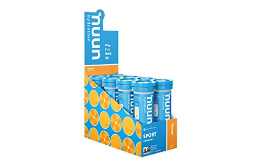 Nuun Sport: Electrolyte Tablets, Effervescent Hydration Supplement, Orange, Box of 8 Tubes (80 servings), Sports Drink for Replenishment of Essential Electrolytes Lost Through Sweat
