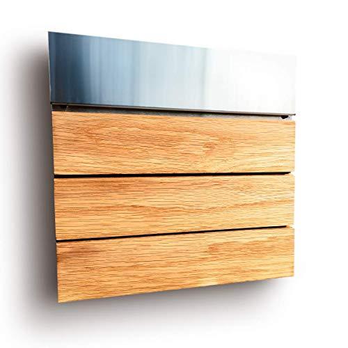 Moderner Design Briefkasten aus Edelstahl und Holz / 3 Leisten/Eiche