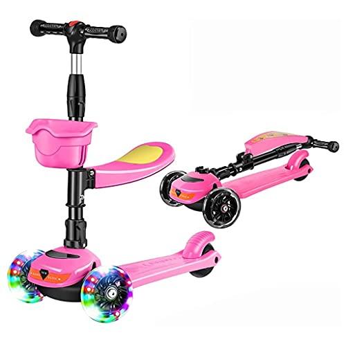 Patinete freestyle Scooter de tiro plegable de 3 ruedas, scooter para niños con luces LED intermitentes ajustables de altura magro para dirigir para niñas niños edades 1-10 regalos para niños cumpleañ