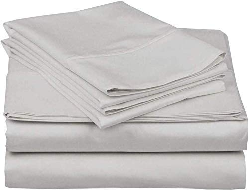4 PCS Bed Sheet Set, 400 Thread Count - 100% Long-Staple Combed Cotton, Breathable, Soft & Silky Sateen Weave Fits Mattress with 38 CM Deep Pocket, Light Grey Solid - UK King