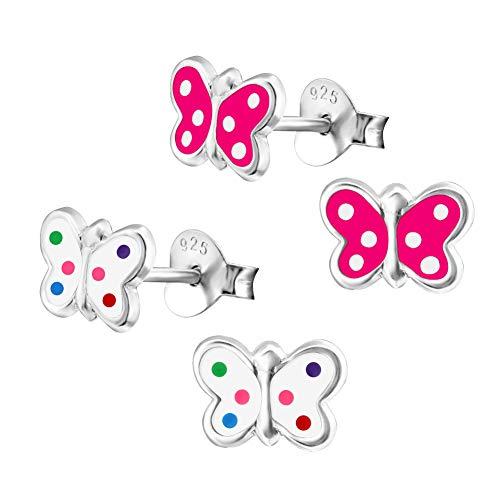 2 Paar Kinder Ohrringe 925 Silber Ohrstecker Schmetterling Pink + Bunte Punkte