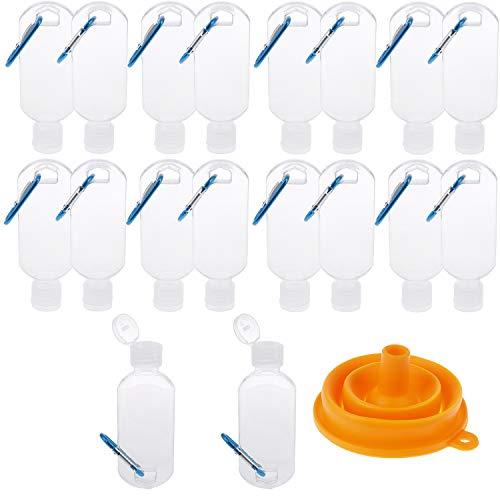 18 botellas de viaje con llavero gancho botella de 2 oz/50 ml a prueba de fugas, contenedores vacíos transparentes con embudo de plástico comprimible para loción de manos