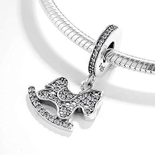 Zilveren Kralen Bedels,925 Sterling Zilver Shaking Horse Clear Bead Clip Charm Charm Bracelet Jewelry Gift