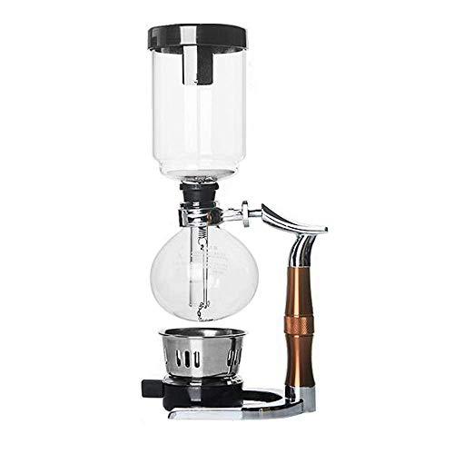 COOLSHOPY. Vakuum-Kaffeemaschine Kaffee Syphon Pot Haus Kaffeemaschine Syphon Typ Manuell Kaffeemaschine Set Edelstahl Glas Siphon Topf (Farbe: Braun, Größe: 35x14cm)