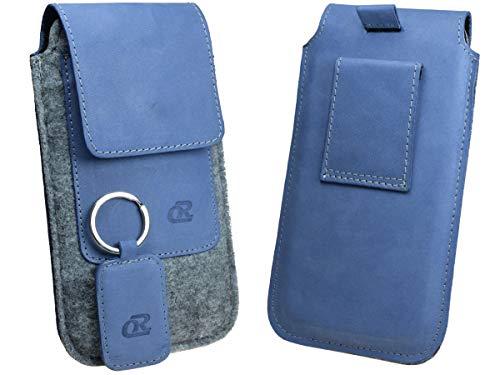 OrLine - Funda de cinturón para ASUS. Funda de protección de fieltro y un llavero de piel