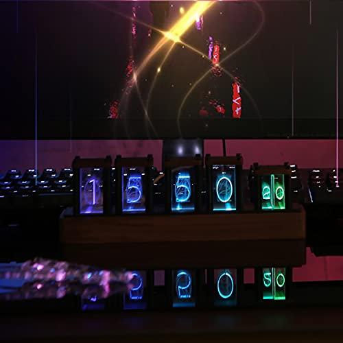 LED Nixie Uhr, Nixie Tube Clock Farbverstellbare Digital Uhr Nixie Tube Clock 5-Stellig Kit mit Innenlichterkennung USB Stecker Röhrenuhr für Geschenk Kinder Freunde Familie (Walnut Panel) (Walnut)