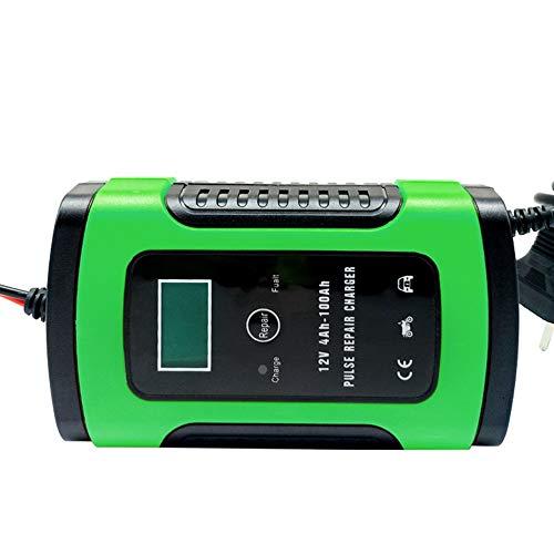 LeftSuper Cargador de batería Cargador de batería de Coche Verde Automóvil Motocicleta Reparación de Pulso Inteligente 12V 5A LCD Dispositivo de Carga de batería de Motocicleta