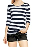 Allegra K Women's Elbow Sleeves Round Neck Slim Fit Tops Basic Costume Striped Tee Shirt Medium White Dark Blue