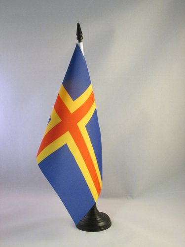 AZ FLAG TISCHFLAGGE Aland 21x14cm - Aland TISCHFAHNE 14 x 21 cm - flaggen
