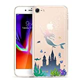 Unov Case Clear with Design Embossed Pattern TPU Soft Bumper Shock Absorption Slim Protective Cover for iPhone 8 iPhone 7 4.7 Inch(Mermaid Castle)