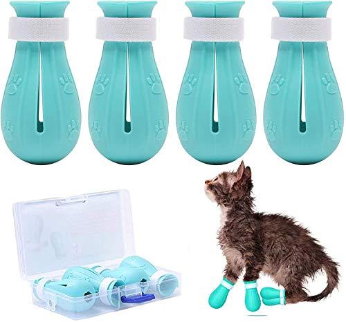 Zapatos Protectores de Pata de Gato, Zapatos Antiarañazos para, protector de patas de gato ajustable, para el cuidado de mascotas, , el baño, el afeitado, el tratamiento de comprobación-4 PACK